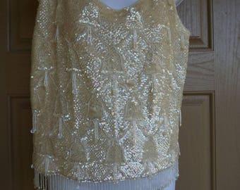 Vintage 1950s 1960s  sleeveless sequined shirt size Medium cream ivory