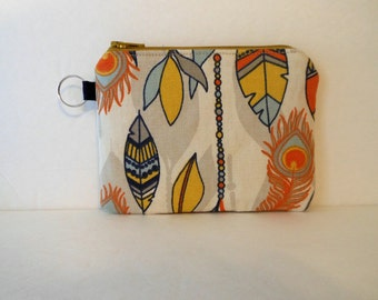 Southwest Feather Coin Purse, Small Zipper Change Pouch