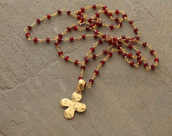 Cross Pendant Necklace - Cross Necklace - Garnet Necklace - Gold Cross Necklace - Garnet and Gold Necklace - Rosary Chain Necklace - Red