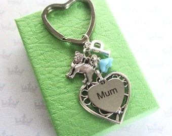 Mum keyring - Pug keychain for mum - Mum Birthday gift - Pug Keyring - Mother's Day gift - Personalised Mum gift - Pug lover gift - UK