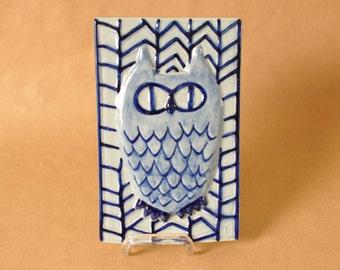 Maria Philippi for Soholm - Owl tile - stoneware wall plate - Bornholm - Danish pottery - Scandinavia - Denmark - Bird