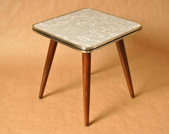 Square plant stool - Mid Century German coffee table - tripod table - table - 1950s - Nierentisch