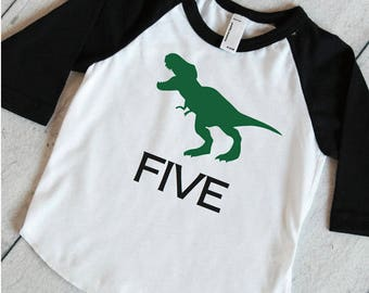 Five T-Rex Birthday Shirt Dinosaur 5th Birthday Shirt, Dinosaur Birthday Shirt, 5 Year Old Dinosaur Shirt,  317