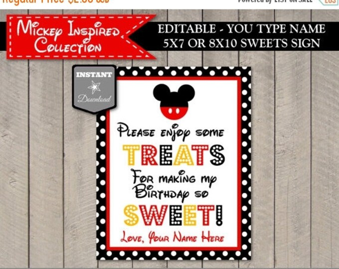 SALE INSTANT DOWNLOAD Editable Mouse Sweets 8x10 Party Sign / You Type Name / Classic Mouse Collection / Item #1523