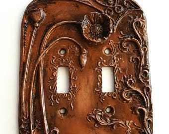 Art Nouveau Poppy Double  Switchplate, Antiqued Cold cast Copper Two Switch Cover