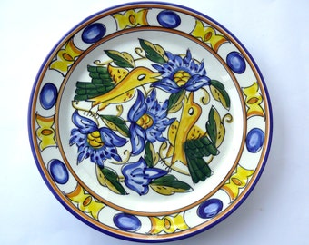 """Vintage Ceramic Plate, Large Decorative Wall Hanging Plate, Hand Painted Floral Dish, Blue and Yellow Plate, 10.5"""" Plate, Painted Plate"""