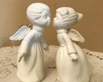 Vintage kissing  Angel Ornaments- Bisque-Perfect for the holidays