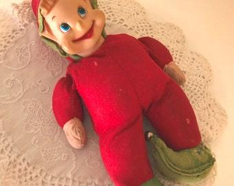 "Vintage Large stuffed  elf Pixie  Doll -13.5"" Fun Christmas Holiday Decoration"