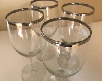 Vintage Set of (4)  Silver Trim Wine Glasses- 8 ounce- excellent