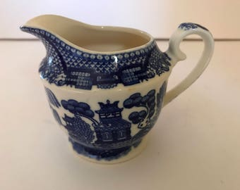 "Vintage  Blue Willow Creamer marked Japan in blue- 3"" tall"