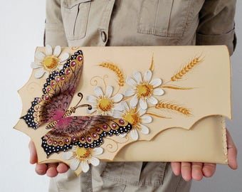Colorful butterfly clutch,Flowers leather purse,Unique leather bag,Painted leather clutch bag,Wedding gift,Unusual gift,Bridesmaid clutch