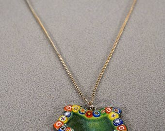 Vintage Art Deco Style Yellow Gold Tone Enameled Millefiori Beads Art Glass Multi Colored Line Link Necklace Jewelry -K#57