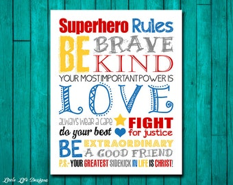 Superhero Rules. Girl Superhero Wall Art. Superhero Room Decor. Girls Superhero Party. Girls Room Decor. Superhero Sign Little Girl Wall Art
