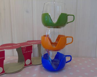 "1960s ""Combi-Cup"" Heat Resistant Glass Camping Cups with Plastic Holders - Original Packaging - Camping Cups - VW Combi Cups - Retro Kitchen"