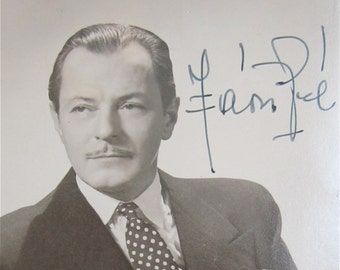 Rare Original 1940's Hungarian Actor Pal Javor Signed Real Photo Postcard - Free Shipping