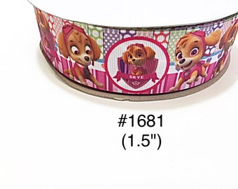 "3 or 5 yard - 1.5"" Paw Patrol Dog Skye with Polka Dot and Striped Grosgrain Ribbon Hair bow"