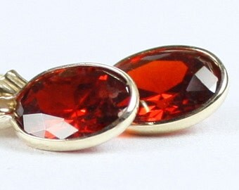 Garnet CZ, 14K Gold Leverback Earrings, E001