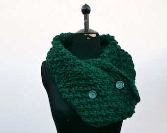 Green Wool - shawl/scarf one size closure with vintage buttons OOAK Made in Italy