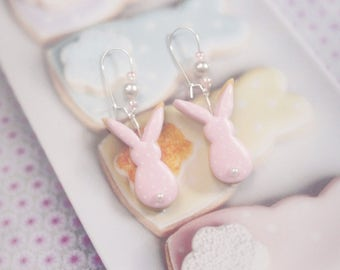 earrings biscuit rabbits pastel kawaii polymer clay
