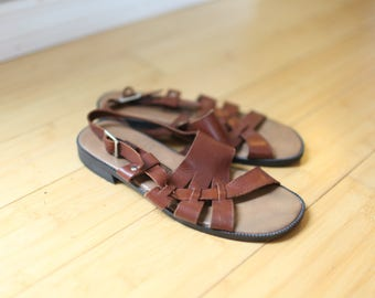vintage cut out woven brown leather hurache sandals womens 6
