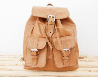 Light Brown Cream Beige Leather Girls backpack, Soft Leather School College Travel Backpack