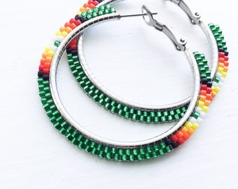Green Fire Beaded Hoop Earrings - Green Beaded Hoop Earrings - Green Beaded Earrings - Green Hoop Earrings - Jewelry Gift for Her
