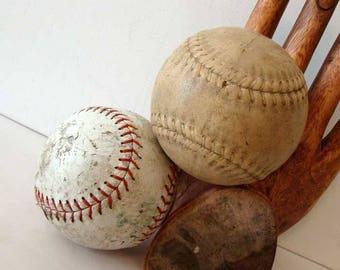 Vintage softballs, old softballs, softball home decor, Sports home decor, old balls, set of 2