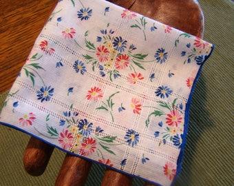 Vintage floral ladies handkerchief, flowered hankie, blue floral handkerchief