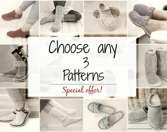 SPECIAL OFFER-Choose any 3 footwear patterns,crochet slippers,boots,shoes,slip ons,scuffs,clogs,rope sole,women,men,kids,adult,toddler,teens