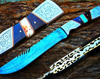 """9.2""""Damascus Blade Collector Hunting Knife w/Engraved Steel Bolsters,Buffalo Horn,File-Work,White and Blue Tourquise,Leather Cover UDK-AF-41"""
