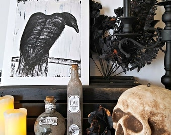 Affordable Wall Art - Crow Art - Raven Art - Gothic Painting - Minimalist Art Print - Affordable Art - Black and White Art - Gifts Under 30