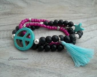 Hippie bracelet peace star black pink