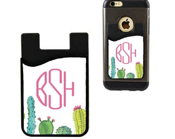 Cactus Monogram Phone Caddy/Monogram Phone Wallet/Phone Pocket/Custom Student ID Holder/Credit Card Holder/Debit Card Holder/Business Card