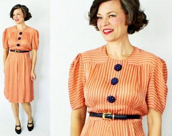 "1930s Dress / 30s Dress / 30s Day Dress / 1930s Day Dress / 1940s Dress / 40s Dress / Rayon Dress / Secretary Dress  / Waist 33"""