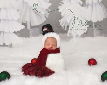 Snowman, Bonnet, Baby Snowman Hat, Baby Scarf, Baby Snowman and Scarf Set, Baby Hat, Snowman, Christmas Hat, Photo Prop, Photography Prop