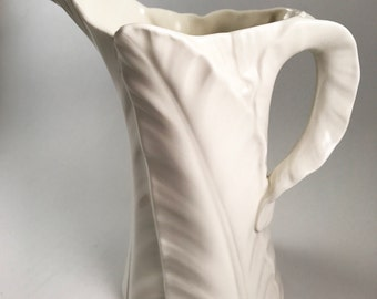 "Vintage Royal Worchester England White Fern Pitcher 7"" high"