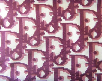 Authentic CHRISTIAN DIOR Silk Scarf, Fuchsia Rose Logo Foulard, Hand Rolled Edges, Made in France