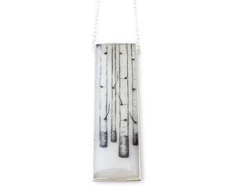 Birch Forest Rectangle Necklace in Sterling Silver