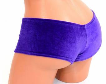 Super Soft Sexy Plush Purple Velvet Ultra Cheeky Booty Shorts Cheekies - 154326