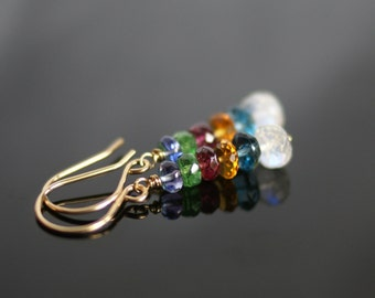 Garnet earrings, Moonstone earrings, Citrine earrings, Tsavorite earrings, London Blue topaz earrings, multi gemstone earrings
