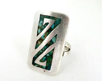 Sterling Silver Shield Ring, Vintage Turquoise Inlay Ring, Ring Native American Statement Ring, Size 9