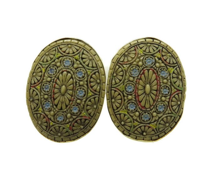 Sandor Painted Glass Earrings, Vintage Oval Clip-ons, Signed Sandor Jewelry