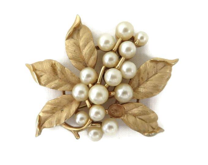 Trifari Faux Pearl Flower Brooch, Vintage Matte Gold Tone Signed Trifari Pin