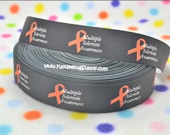 3 yards Multiple Sclerosis - BLACK - 7/8 inch - Printed Grosgrain Ribbon