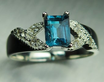 Natural Blue Indicolite Tourmaline &white topaz 925 Silver engagement ring all sizes