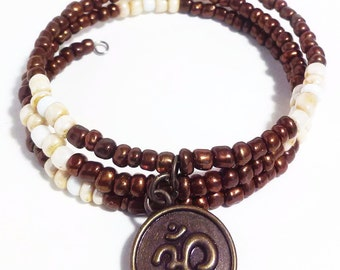 OM + PEACE - Coil Memory Wire Wrap Bracelet, Affirmation Jewelry, Cause Jewelry, Benefits Homeless Mothers of Atlanta