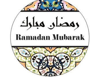"Ramadan Stickers with the word ""Ramadan Mubarak"" in both english & arabic, party, gift, gift tags, Eid, envelope seal, cupcake topper"