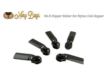 Set of 5 // #5 Zipper Slider / Zipper Pull (High Quality) for Nylon Coil Zippers in Gunmetal Finish (NEW)