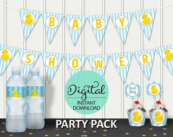 Rubber Ducky Baby Shower Package, Rub a dub dub, Rubber Duck, Baby Shower Pack, Baby Shower Decorations, INSTANT DOWNLOAD #4986