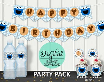 Cookie Monster Party Package, Cookie Monster 1st Birthday, Cookie Monster Decor,  Sesame Street, Pink Mint Studio, INSTANT DOWNLOAD, #3956